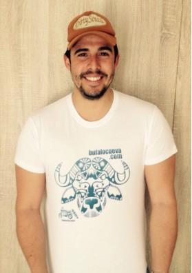 Camiseta El Búfalo Blanca con Logo Azul